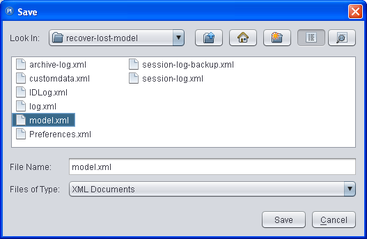 Save recovered model as.xml spec