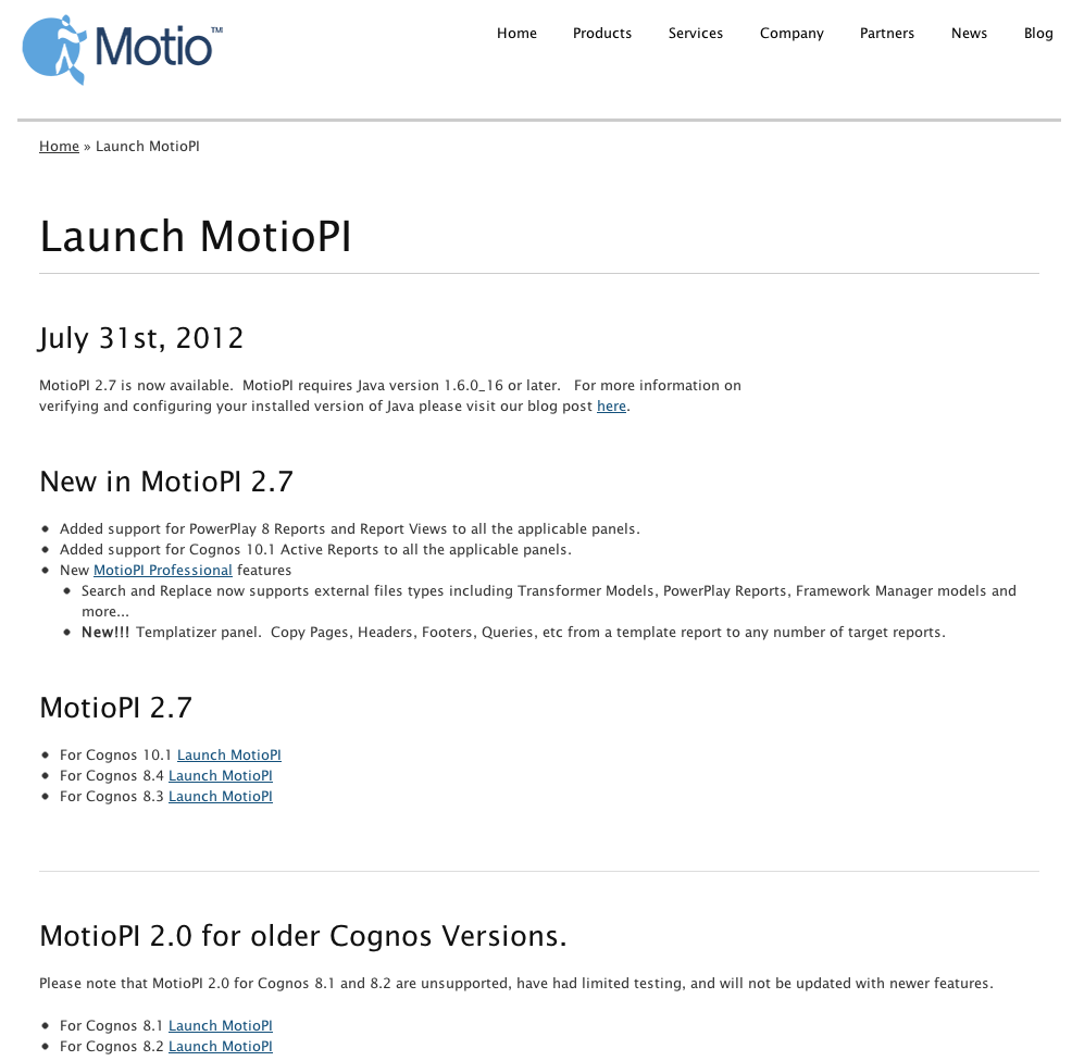 MotioPI Launch Page