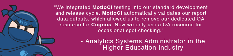 MotioCI Cognos Integrated Testing
