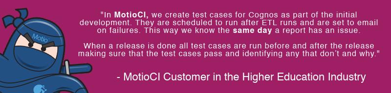 MotioCI Cognos Test Cases