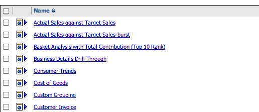 List of Cognos Reports