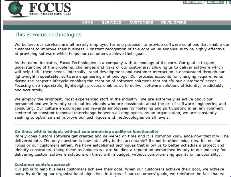 2001 Focus Website