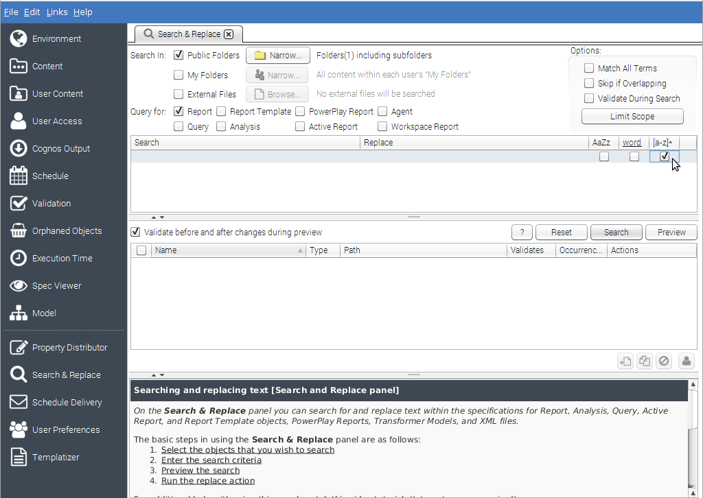 Enable Regex Search in Cognos