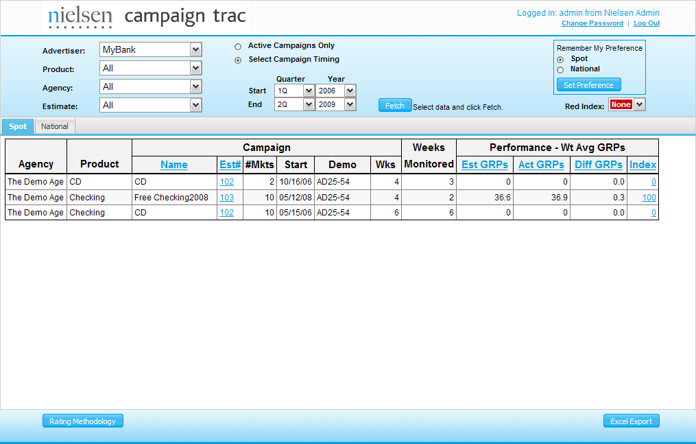 2009 - ADF Customer Screenshot