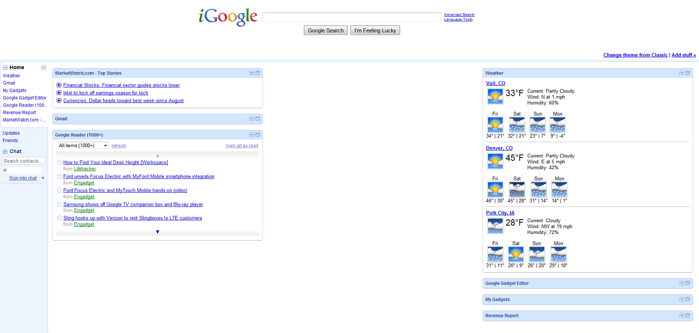 iGoogle dashboard