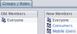 Manage Cognos user groups and roles